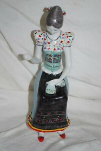 Hollohaza Hungary Porcelain Figurine Of Peasant Woman Sewing Kezzel Festett 1831