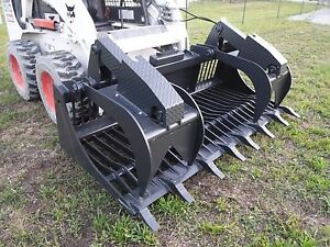 Bobcat Skid Steer Attachment 80 Rock Bucket Grapple With Teeth Ship 199