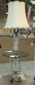 Mid Century Hollywood Regency Crystal Brass Floor Lamp With Glass Table Rare