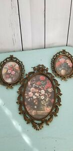 Vintage Brass Ornate Floral Picture Frame Italy Lot Of 3