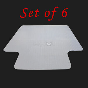 Set Of 6 Home Office Chair Pvc Floor Mat Studded Back W Lip For Carpet 48 X 36