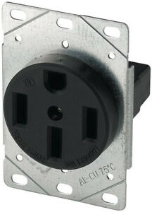 Cooper Wiring Devices 1258 sp 50 amp 125 250v Range Power Receptacle Black