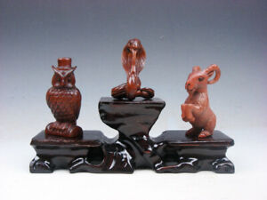 3 Japanese Boxwood Hand Carved Owl Snake Goat Netsuke W Wooden Stand