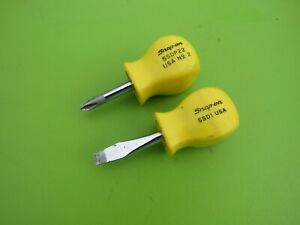 Snap On 2 Pc Yellow Handle Stubby Screwdriver Set Ssdp22 Phillips Ssd1 Flat
