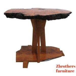Vintage Mid Century Custom Made Free Form Live Edge Lamp End Table Pedestal