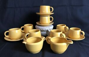 Frankoma Sunny Yellow Tea Cups Including Saucers And Cream Sugar Bowls