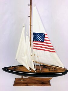Vintage Yatch Nautical Ship Boat American Sailboat Wooden Display Model Mint Usa