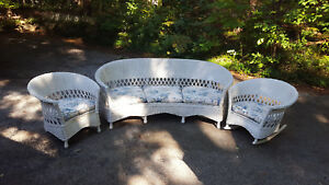 Antique Fiber Wicker 3 Piece Set Sofa Chair Rocker Art Deco Design C 1920