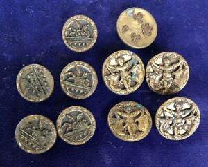 Lot Antique Victorian Metal Figural Buttons Boy Whit Banners Fabric