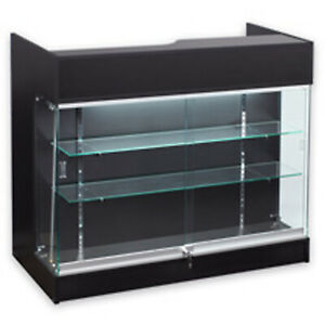 4 Ledgetop Pos Sales Reception Showcase Counter Knockdown Displaycase Black New