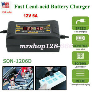 Lcd Automatic Smart Fast 12v 6a Lead Acid Battery Charger For Car Motorcycle Us