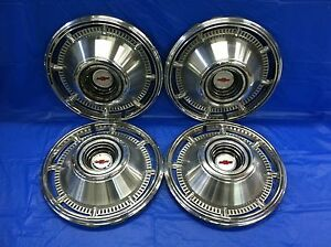 Vintage Set Of 4 1966 Chevrolet 14 Hubcaps Impala Biscayne Great Condition