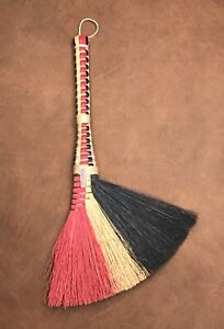 Vintage Berea College Crafts Kentucky Blue Red Turkey Wing Hearth Broom 22
