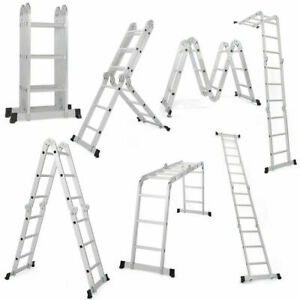 Heavy Duty Aluminum 12 5 Feet 12 Step Scaffold Ladder 330lb Multi Purpose Extend