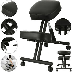 Ergonomic Kneeling Chair Adjustable Mobile Padded Seat And Knee Rest New