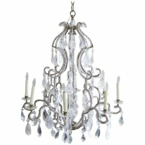 French Vintage Crystal Birdcage Chandelier Attributed To Bagues