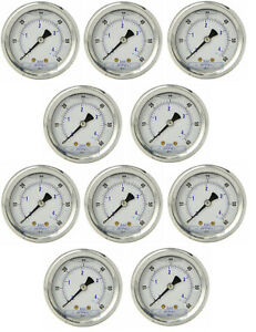 10 Pack Liquid Filled Pressure Gauge 0 60 Psi 2 Face 1 4 Back Mount