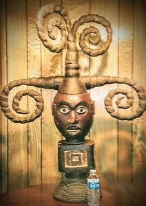 Very Large Ekoi Mask Statue 46 Tall X 3 Ft Wide Leather Wrapped Hair Nigerian