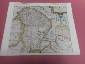 100 Original Lincolnshire Map By Saxton Kip C1610 Scarce Hand Coloured