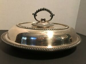 Antique English Silver Plated Covered Oval Serving Dish Hallmarked