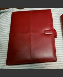 Filofax Personal Large Cross Red Italian Leather Planner Organizer