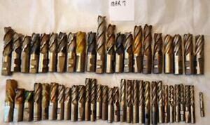 50 Pc Lot Of Used Roughing End Mills 1 2 To 1 Hss And Cobalt