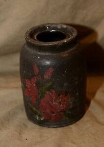Antique Mid 19th C Stoneware Preserve Jar Hand Painted Floral Decorated Sm Chips