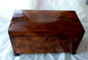 Antique Georgian Flamed Mahogany Tea Caddy Box Chest Twin Canister 1800