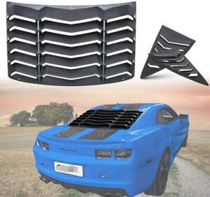 Black Rear Quarter Side Scoop Window Louver Covers For 2010 2015 Chevy Camaro