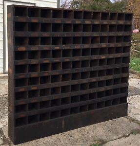 Antique Industrial Hardware Storage Cubby Cabinet Wood Pigeon Hole Store Display