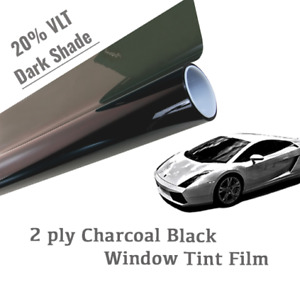 48 X 50 ft 20 Vlt Charcoal Black Window Tint Film Uncut Roll Dark Shade