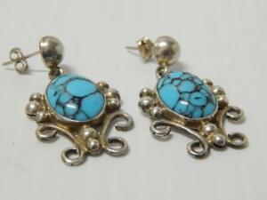 Vintage Mexican Sterling Silver Taxco Marked Turquoise Earrings Mexico Xlnt Gift