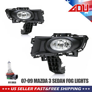 For 2007 09 Mazda 3 Clear Fog Light Assemblies Direct Fit Replacement No Mods Us