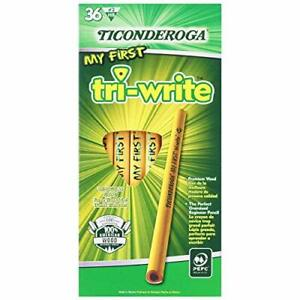 Ticonderoga Wood cased My First Tri write Pencils 2 Hb Soft Yellow 36 Count