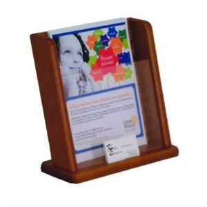 Wooden Mallet Countertop Literature Display With Business Card Pocket Medium O