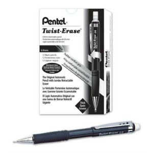 Pentel Twist erase Iii Mechanical Pencil 0 9mm Black Barrel 12 Pack qe519a