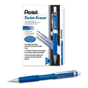 Pentel Twist erase Iii Mechanical Pencil 0 5mm Blue Barrel 12 Pack qe515c