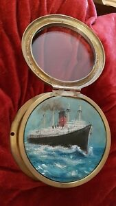 Antique 1930 S Ships Clock Case With Original Oil Painting Of A Liner