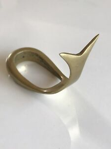 Vtg Solid Brass Pipe Rest Whale Shape Decorative Modern Aubock Sytle Sea Object