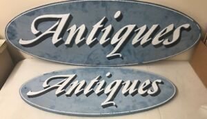 Pair Of Vintage Antiques Signs Blue White Wooden Oval 48 36 Set