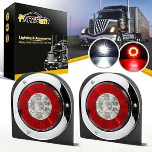 2xred white 4 Round 16 Led Truck Trailer Stop Turn Tail Backup Lights W bracket