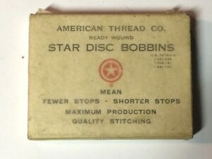 Antique American Thread Co Star Disc Bobbins Sewing New Old Stock Sample Rare
