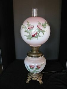 Antique Hand Painted Red Thistle Meteor Gone With The Wind Electrified Oil Lamp