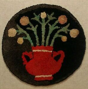 Antique Shirred Round Hooked Rug Mat Flowers In Redware Pot Nicely Mounted
