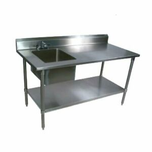 Prep Table With Sink Stainless Steel With Base Undershelf