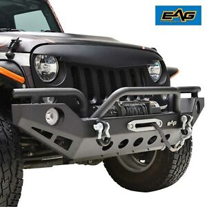 Eag Fit For 07 18 Jeep Wrangler Jk Rock Crawler Front Bumper With Winch Plate