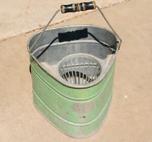 Vintage Very Unique Galvanized Steel Metal Mop Bucket Decor Flower Pot Green