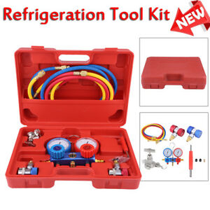 Car A c Refrigeration Air Conditioning Ac Diagnostic Manifold Gauge Tool Kits
