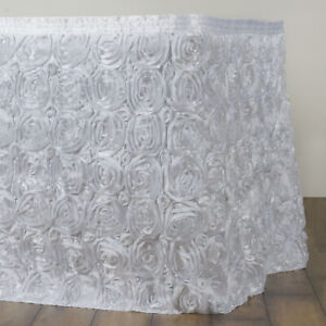 21 White Satin Roses Table Skirt Tradeshow Wedding Party Catering Supplies