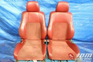 97 01 Honda Prelude Si r S spec Bb6 Oem Red Leather suede Seats Jdm H22a